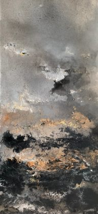 11.Dark Nite 76x166. Acrylic_mixed media on block canvas Framed £2800