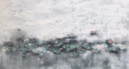 32.Lily Pond Series II 240x140. Acrylic_mixed media on block canvas framed £4200