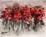 39.Urban Poppies 40x30. Acrylic_mixed media on paper framed Sold