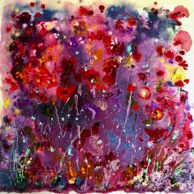 44.Youthful Fields 85x85. Acrylic_mixed media on block canvas unframed Sold