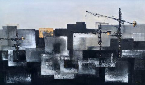 49.Workman's Club 200x140. Acrylic_mixed media on block canvas framed £3600
