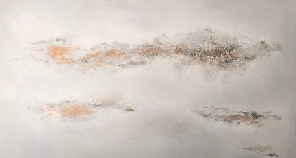 Daydreaming 200x140. Acrylic_goldleaf_mixed media on block canvas framed £3885
